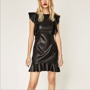 LEATHER EFFECT MINI DRESS